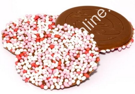 Dragee Chocolade Oublies groot roze