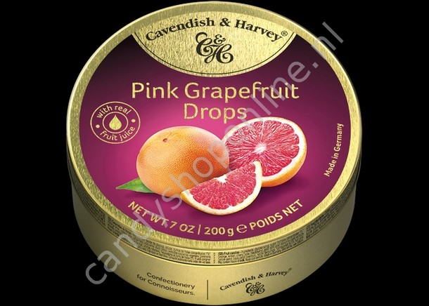 Cavendish & Harvey Pink Grapefruit Drops with real Fruit Juice 200gr.